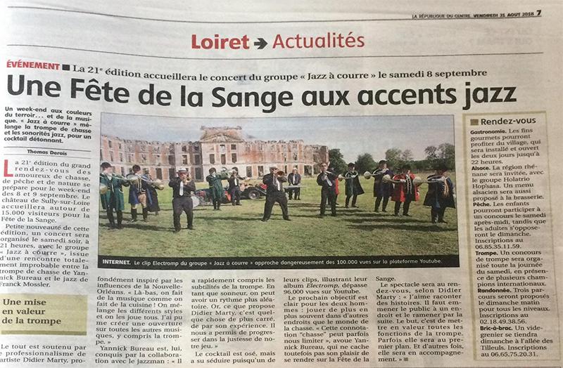 Concert Jazz à Courre samedi soir à la fête de la Sange à Sully-sur-Loire